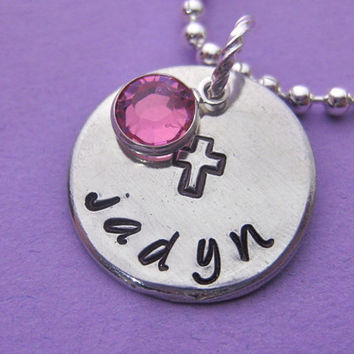 """Baptism Necklace -  3/4"""" (Medium) - Custom Hand Stamped necklace personalized for you - perfect for mom or grandma"""