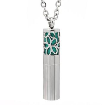 Flower Time Cylindrical Essential Oil Diffuser Necklace