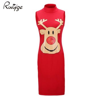 Ruiyige 2017 Women Cute Christmas Printed Sleeveless Tank Turtleneck Xmas Party Midi Dress Elegant Knee-Length Robe Santa Gifts