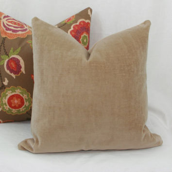 Beige velvet decorative throw pillow cover. 18 x 18. 20 x 20.22 x 22. 24 x 24. 26 x 26. lumbar sizes.