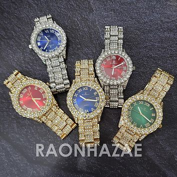 Raonhazae Silver Hip Hop Iced Lab Diamond Meek Mill Drake Blue / Red / Green Face 14K Gold Plated Watch with 12mm Cuban Link Bracelet Set