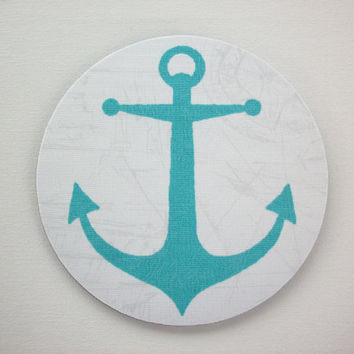 Mouse Pad mouse pad / Mat - Coastal Nautical Collection - Seahorse, Anchor, or Starfish -  round or rectangle - turquoise aqua office decor