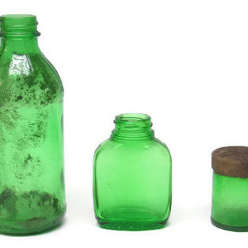 Old Emerald Green Glass Bottles Medical Rustic Decor Instant Collection