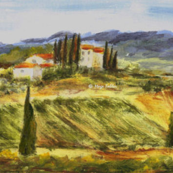 Val d'Elsa, Tuscany, Italy; Art d'Eco; original impressionistic painting by European artist Maga Fabler