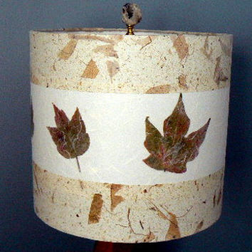 Pressed Maple Leaves Paper Lamp Shade