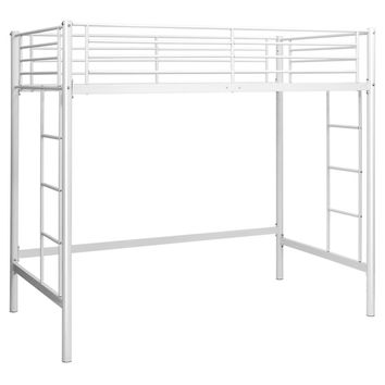 Twin size Modern Student Dorm Loft Bed Frame in White