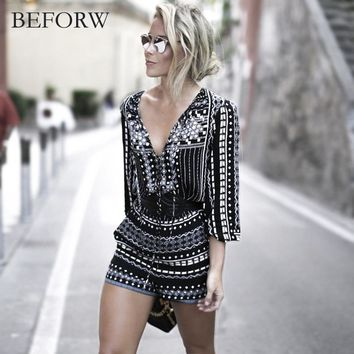 BEFORW  Jumpsuit Women Vintage Print Bodysuit Fashion Casual Ladies Loose Beach Body Suit Sexy Rompers Womens Jumpsuit
