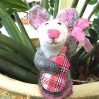 Needle felted Mouse needle feted animal felting mouse wool mouse needle felt mouse mice gift felt mouse music guitar handmade gift musician