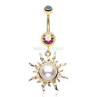 Golden Blazing Sun Belly Button Ring (Aurora Borealis)
