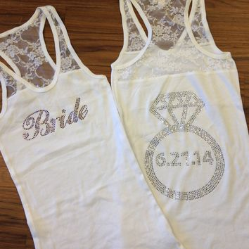 Personalized Bride Lace Tank Top with Wedding Date