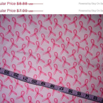 Pink ribbon flannel fabric hearts cotton quilting and sewing material by the yard