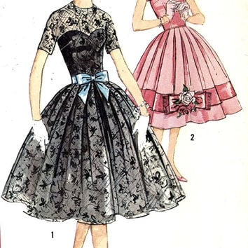 50s Rockabilly dress Grad Party or Vintage bridesmaid wedding vintage sewing pattern Simplicity 2765 Bust 36