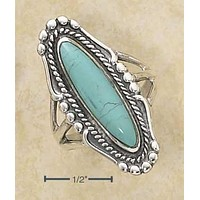 Sterling Silver Ring:  Oval Simulated Turquoise Ring With Rope And Beaded Edging