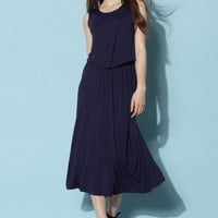Cozy Flap Top and Maxi Skirt Set in Navy Blue