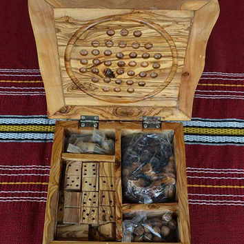 "04 Games Package:  ""Dominoes, Dama, Solitaire, chess set,"" Handcrafted of natural olive wood."