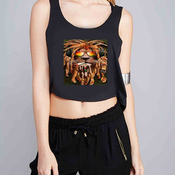 DJ Rasta lion dread for Crop Tank Girls S, M, L, XL, XXL *IP*