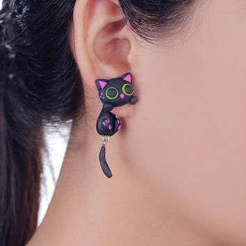 Purple Ear Cute Cat Stud Earring Fashion Jewelry Polymer Clay Cartoon 3D Animal Earrings