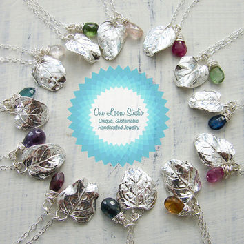 Set of Three Silver Bridesmaids Leaf Charm Necklaces