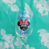 Minnie Mouse 4th Of July Wine Glass