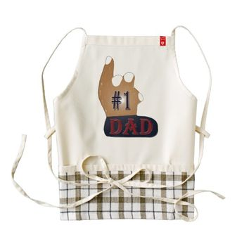 #1 Dad Ebony Teak Zazzle HEART Apron