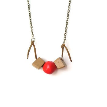 Geometric Necklace - Neon Red Geometric Jewelry - Asymmetric Clay Modern Tribal Necklace - Bright Pink and Sand Brown  Terracotta - OOAK