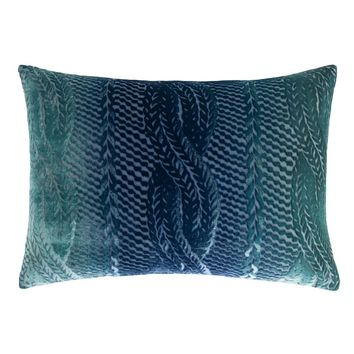 Shark Cable Knit Velvet Pillow by Kevin O'Brien Studio