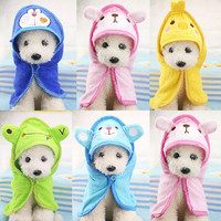 Cartoon Animal Hooded Dog Bath Towel Super Absorbent Shower Bathrobe Pajamas Puppy Blankets Cleaning Drying Towel Pet Supplies