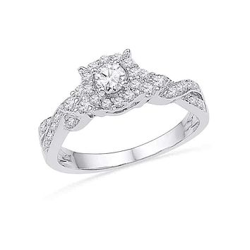 10kt White Gold Women's Round Diamond Solitaire Twist Bridal Wedding Engagement Ring 1/2 Cttw - FREE Shipping (US/CAN)