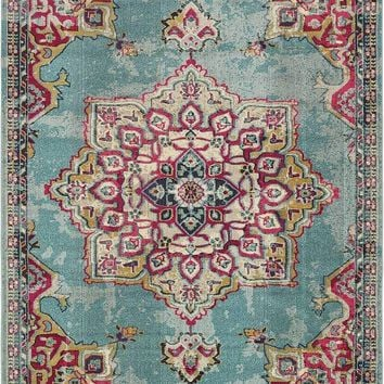9330 Light Blue Medallion Distressed Oriental Area Rugs