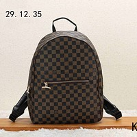 LV Louis Vuitton 2018 new men's casual wild casual canvas backpack Coffee Check