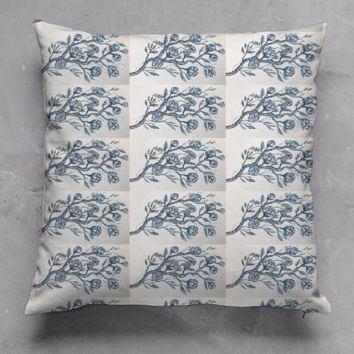 blue toile accent pillow