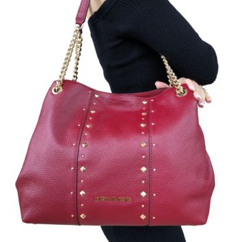 Michael Kors Jet Set Large Chain Shoulder Bag Hobo Tote Leather Red Stud