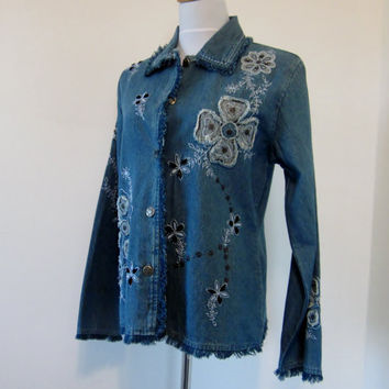 Vintage Fringed Denim Jacket Embroidered Jacket Embellished with Sequins and Beads Teens Womens Small