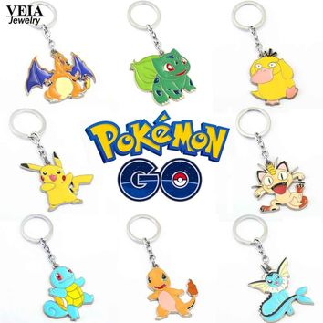 Hot  Go Figures Metal Keychains Anime Pikachu Bulbasaur Gastly Chansey Squirtle Pendants Jewelry Key Ring Holder SouvenirKawaii Pokemon go  AT_89_9