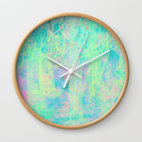pastel forest Wall Clock by Bunny Noir