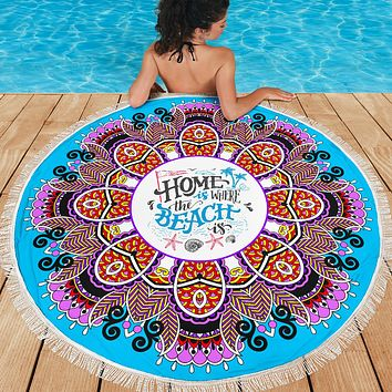 Home Is Where The Beach Is Mandala Beach Blanket 59 Inches