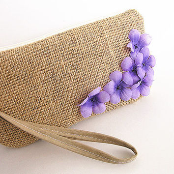 Burlap wristlet burlap clutch bridal cluth bridesmaid clutch- Purple flowers.