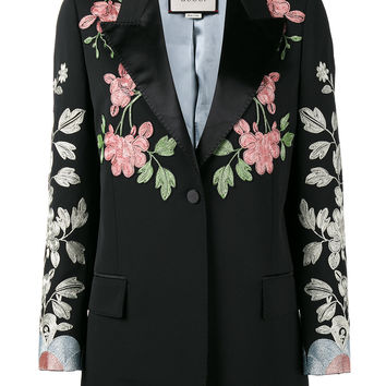 Gucci Black Floral Embroidered Blazer - Farfetch