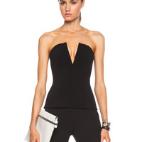 Tech Stretch V Neck Bustier in Black