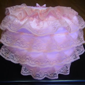PINK Ruffle  Adult BABY Fluffy Puffy Padded Sissy Panties