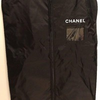AUTH CHANEL BLACK NYLON FRONT ZIPPERED GARMENT TRAVEL BAG