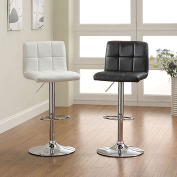 Komoe contemporary style black leather like vinyl adjustable swivel bar stool with backrest