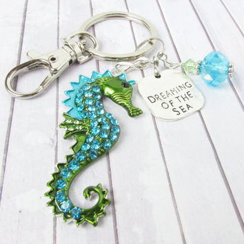 Sea Horse Keychain, Beach Keychain, Car Accessories, Seahorse Keychain, Gift for Her, Rhinestone Keychain, Nautical Keychain, Quote Keychain
