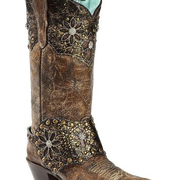 CORRAL Women's Collar and Harness Cowgirl Boot Snip Toe - E1017