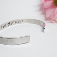 Secret Message Bracelet Cuff - Personalized Bracelet - Custom Cuff - Handstamped Cuff - Girlfriend Gift - Aluminum Cuff-Adjustable Cuff