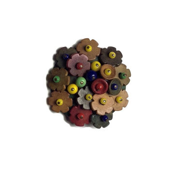 Vintage Miriam Haskell Wooden Flower Cluster Brooch Pin