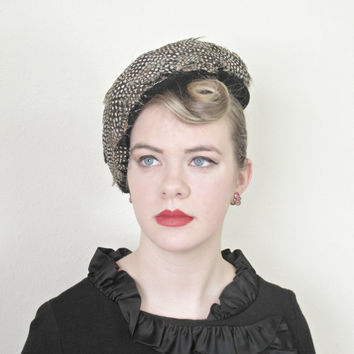 1950's Hat,Vintage, French, Fascinator, 50s Hat, Feathers, Velvet, Pin Up, Couture, Artistic