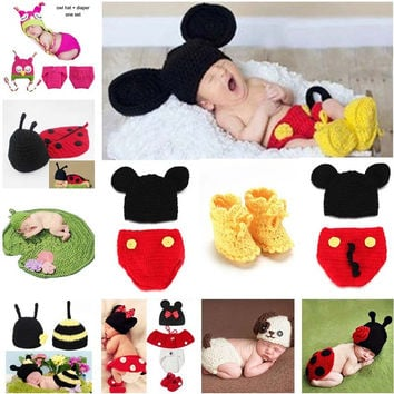 Animal Design Newborn Baby Crochet Photography Props Handmade Knit Mickey Costume Outfit Sleepy Owl Frog Baby Gift SG058