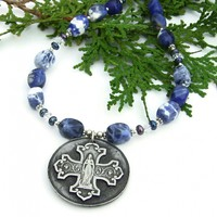 Virgin Mary and Cross Necklace, Bless This Woman Handmade Catholic Jewelry Sodalite Pearls