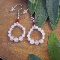 Ruby Brecciated Jasper Gemstone & Polished Pretty Pink Rose Quartz Bead Circle Hoop Earrings on Surgical Steel Wire - OOAK Nature Inspired